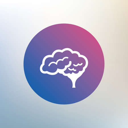 cerebellum: Brain with cerebellum sign icon. Human intelligent smart mind. Icon on blurred background. Vector