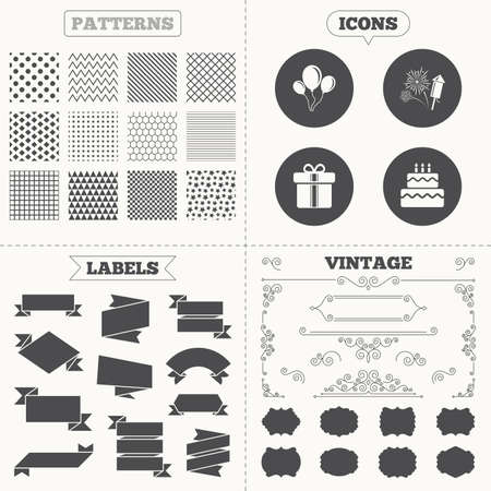 birthday cakes: Seamless patterns. Sale tags labels. Birthday party icons. Cake and gift box signs. Air balloons and fireworks symbol. Vintage decoration. Vector