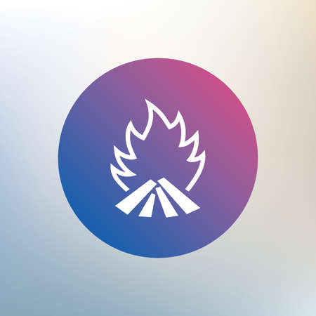 fire escape: Fire flame sign icon. Heat symbol. Stop fire. Escape from fire. Icon on blurred background. Vector