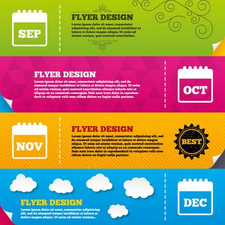 sep: Flyer brochure designs. Calendar icons. September, November, October and December month symbols. Date or event reminder sign. Frame design templates. Vector