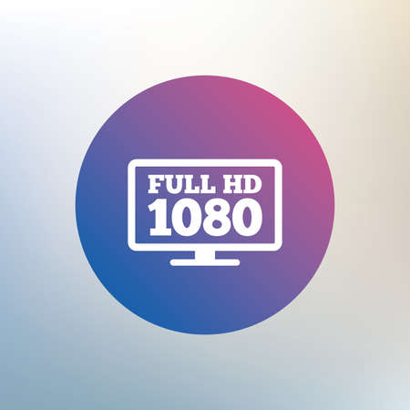 full hd: Full hd widescreen tv sign icon. 1080p symbol. Icon on blurred background. Vector