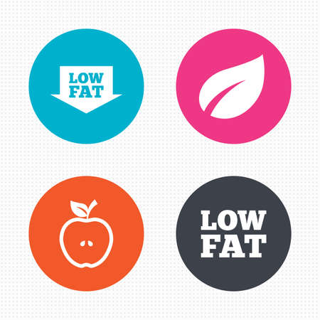 lowfat: Circle buttons. Low fat arrow icons. Diets and vegetarian food signs. Apple with leaf symbol. Seamless squares texture. Vector