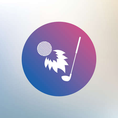 fireball: Golf fireball with club sign icon. Sport symbol. Icon on blurred background. Vector