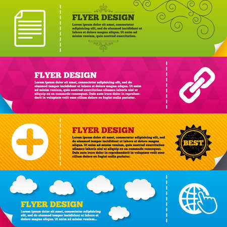 hyperlink: Flyer brochure designs. Plus add circle and hyperlink chain icons. Document file and globe with hand pointer sign symbols. Frame design templates. Vector Illustration