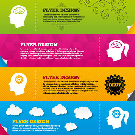 pigtail: Flyer brochure designs. Head with brain icon. Male and female human think symbols. Cogwheel gears signs. Woman with pigtail. Frame design templates. Vector Illustration