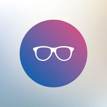 eyeglass: Retro glasses sign icon. Eyeglass frame symbol. Icon on blurred background. Vector