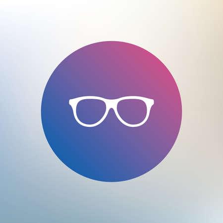 eyeglass frame: Retro glasses sign icon. Eyeglass frame symbol. Icon on blurred background. Vector