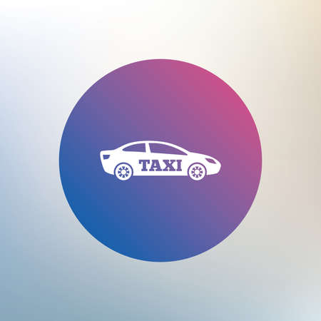 saloon: Taxi car sign icon. Sedan saloon symbol. Transport. Icon on blurred background. Vector Illustration