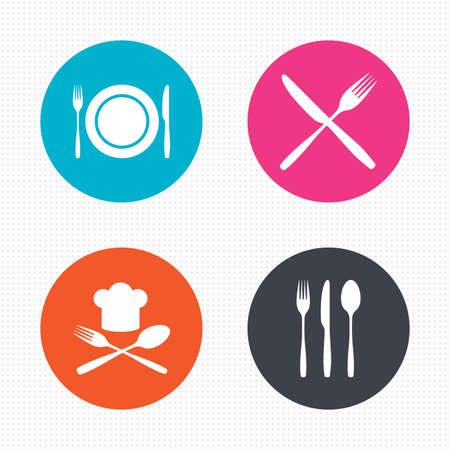 Circle buttons. Plate dish with forks and knifes icons. Chief hat sign. Crosswise cutlery symbol. Dining etiquette. Seamless squares texture. Vector