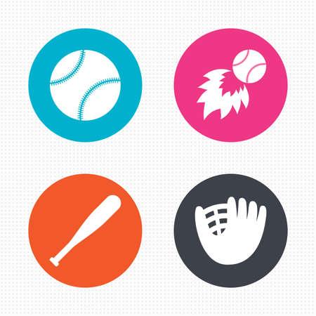 guante de beisbol: Botones de círculo. Iconos del deporte del béisbol. Bola con signos guante y bat. Símbolo de la bola de fuego. Perfecta textura cuadrados. Vector