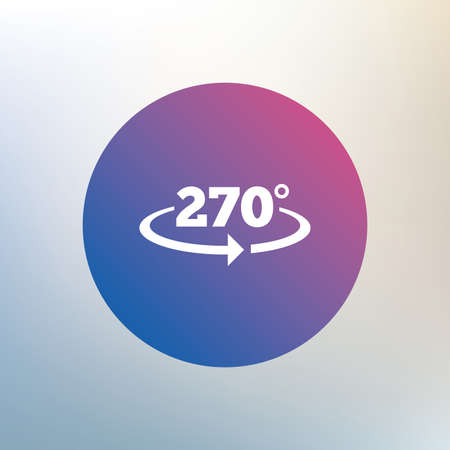 seventy two: Angle 270 degrees sign icon. Geometry math symbol. Icon on blurred background. Vector
