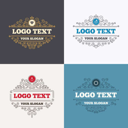 diamond rings: Flourishes calligraphic emblems. Rings icons. Jewelry with shine diamond signs. Wedding or engagement symbols. Luxury ornament lines. Vector Illustration