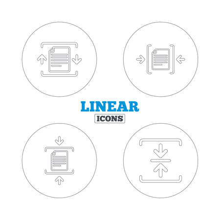 zipped: Archive file icons. Compressed zipped document signs. Data compression symbols. Linear outline web icons. Vector Illustration