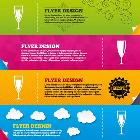 Disegni brochure Flyer. Bicchieri icone vino champagne. Bevande alcoliche segno simboli. Spumante con le bollicine. Modelli di design del telaio. Vettore