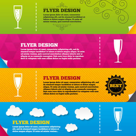 Flyer brochure designs. Champagne wine glasses icons. Alcohol drinks sign symbols. Sparkling wine with bubbles. Frame design templates. Vector