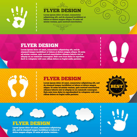 do: Flyer brochure designs. Hand and foot print icons. Imprint shoes and barefoot symbols. Stop do not enter sign. Frame design templates. Vector
