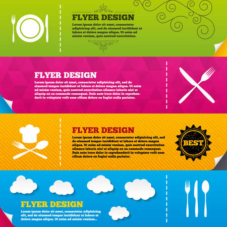 knifes: Flyer brochure designs. Plate dish with forks and knifes icons. Chief hat sign. Crosswise cutlery symbol. Dining etiquette. Frame design templates. Vector