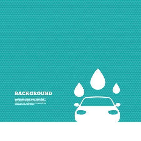 Background with seamless pattern. Car wash icon. Automated teller carwash symbol. Water drops signs. Triangles green texture. Vector
