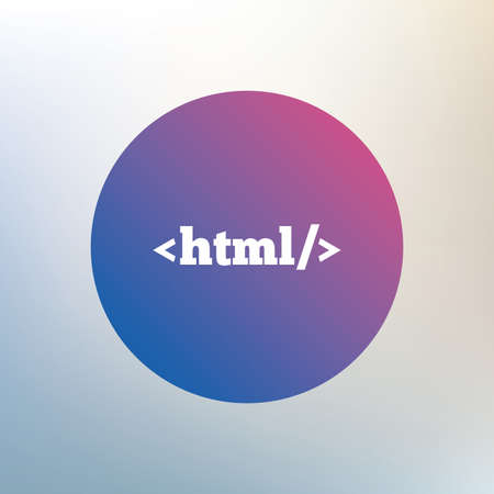 markup: HTML sign icon. Markup language symbol. Icon on blurred background. Vector