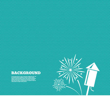 pyrotechnic: Background with seamless pattern. Fireworks with rocket sign icon. Explosive pyrotechnic symbol. Triangles green texture. Vector