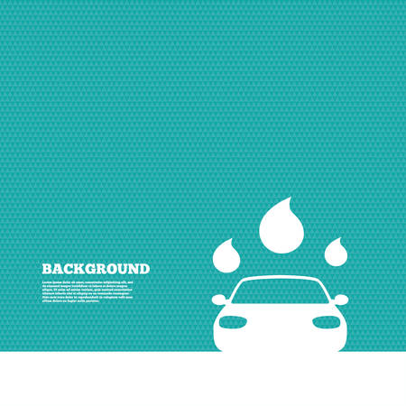 car clean: Background with seamless pattern. Car wash icon. Automated teller carwash symbol. Water drops signs. Triangles green texture. Vector