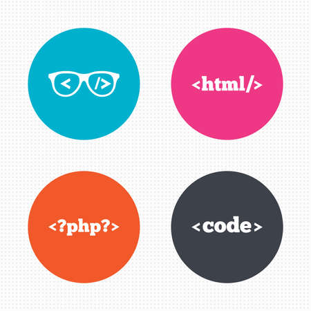 markup: Circle buttons. Programmer coder glasses icon. HTML markup language and PHP programming language sign symbols. Seamless squares texture. Vector