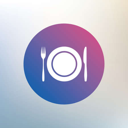 etiquette: Plate dish with fork and knife. Eat sign icon. Cutlery etiquette rules symbol. Icon on blurred background. Vector