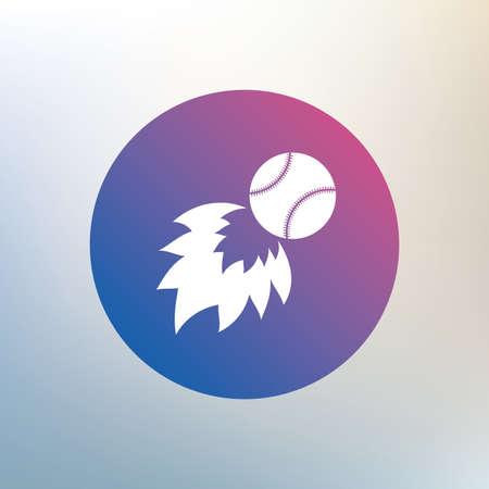 fireball: Baseball fireball sign icon. Sport symbol. Icon on blurred background. Vector Illustration