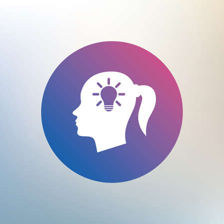 pigtail: Head with lamp bulb sign icon. Female woman human head idea with pigtail symbol. Icon on blurred background. Vector