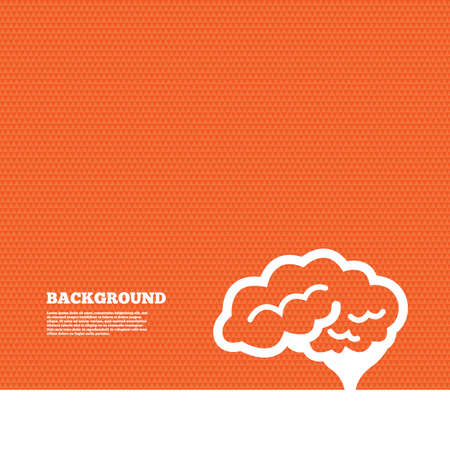 Background with seamless pattern. Brain with cerebellum sign icon. Human intelligent smart mind. Triangles orange texture. Vector