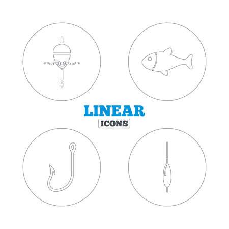 bobber: Fishing icons. Fish with fishermen hook sign. Float bobber symbol. Linear outline web icons. Vector