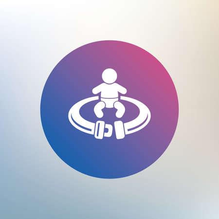fasten: Fasten seat belt sign icon. Child safety in accident. Icon on blurred background. Vector