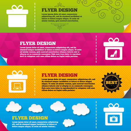 frame  box: Flyer brochure designs. Gift box sign icons. Present with bow symbols. Photo camera sign. Woman shoes. Frame design templates. Vector Illustration