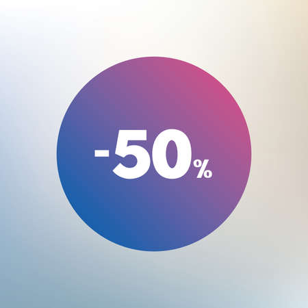 sale sign: 50 percent discount sign icon. Sale symbol. Special offer label. Icon on blurred background. Vector