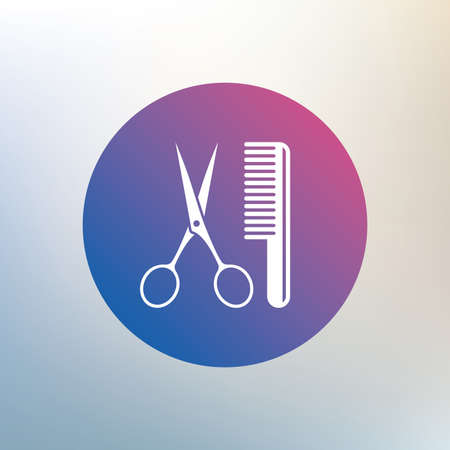 comb hair: Comb hair with scissors sign icon. Barber symbol. Icon on blurred background. Vector