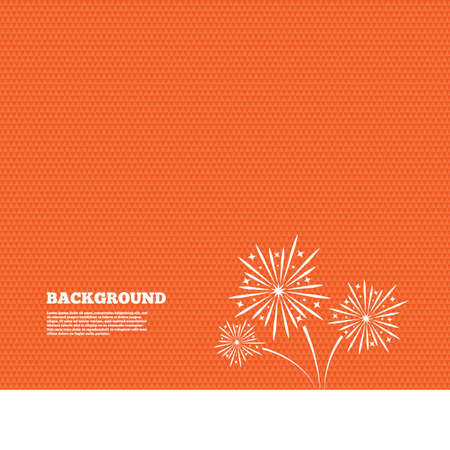 pyrotechnic: Background with seamless pattern. Fireworks sign icon. Explosive pyrotechnic show symbol. Triangles orange texture. Vector