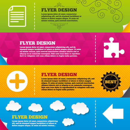 puzzle corners: Flyer brochure designs. Plus add circle and puzzle piece icons. Document file and back arrow sign symbols. Frame design templates. Vector Illustration