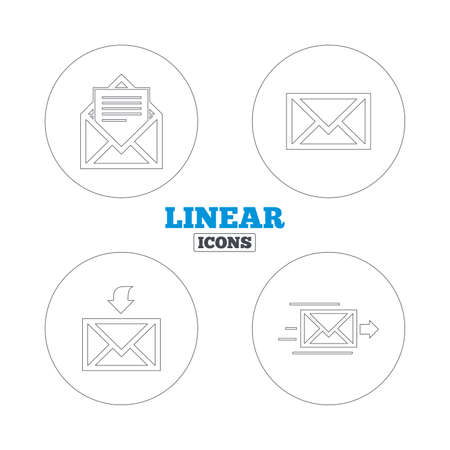 Mail envelope icons. Message document delivery symbol. Post office letter signs. Inbox and outbox message icons. Linear outline web icons. Vector