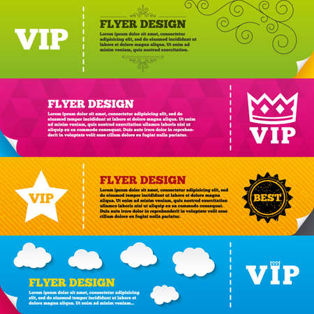 very important person: Flyer brochure designs. VIP icons. Very important person symbols. King crown and star signs. Frame design templates. Vector