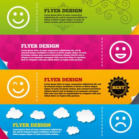 clin d oeil: Brochure Flyer dessins. ic�nes de sourire. Heureux, triste et clin d'oeil faces symbole. Rire lol signes smiley. mod�les de conception de cadre. Vecteur