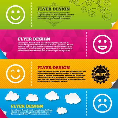 wink: Flyer brochure designs. Smile icons. Happy, sad and wink faces symbol. Laughing lol smiley signs. Frame design templates. Vector