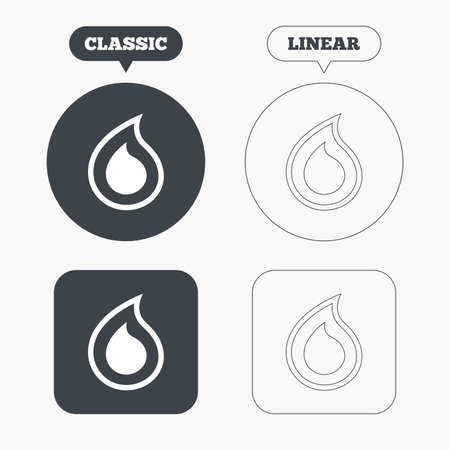 tear drop: Water drop sign icon. Tear symbol. Classic and line web buttons. Circles and squares. Vector