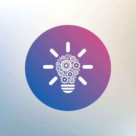 idea symbol: Light lamp sign icon. Bulb with gears and cogs symbol. Idea symbol. Icon on blurred background. Vector Illustration