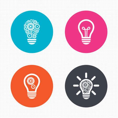 원 버튼. 라이트 램프 아이콘. 톱니 바퀴 기어 기호 램프 전구. 아이디어와 성공 기호. 원활한 사각형 질감. 벡터