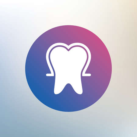 stomatologist: Tooth enamel protection sign icon. Dental toothpaste care symbol. Healthy teeth. Icon on blurred background. Vector Illustration