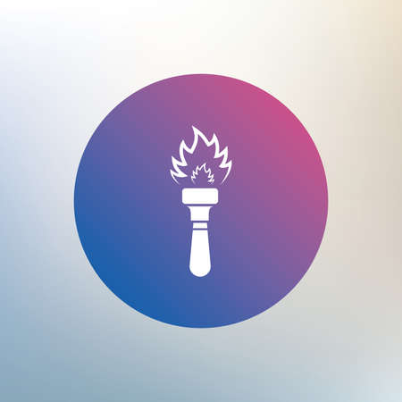 torch flame: Torch flame sign icon. Fire flaming symbol. Icon on blurred background. Vector