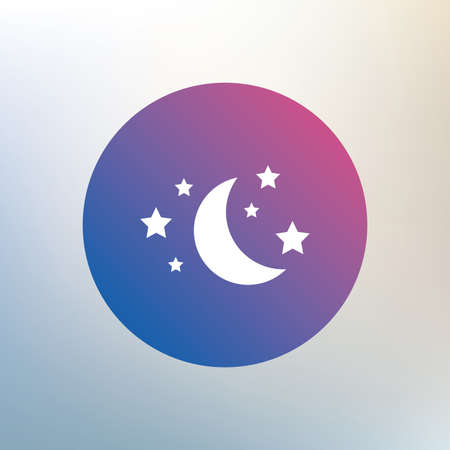 bed time: Moon and stars icon. Sleep dreams symbol. Night or bed time sign. Icon on blurred background. Vector
