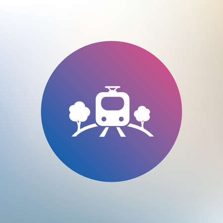 metro train: Overground subway sign icon. Metro train symbol. Icon on blurred background. Vector Illustration