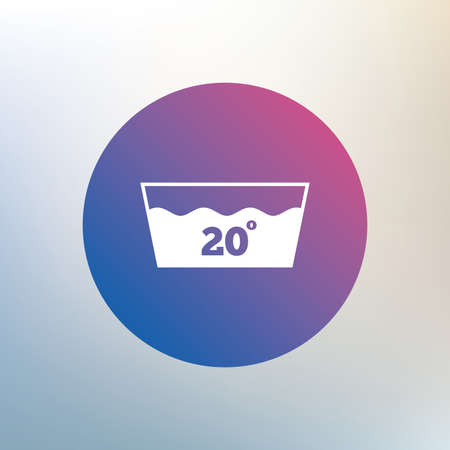 washbowl: Wash icon. Machine washable at 20 degrees symbol. Icon on blurred background. Vector