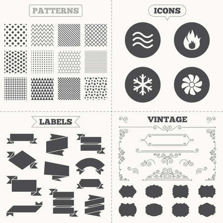 water supply: Seamless patterns. Sale tags labels. HVAC icons. Heating, ventilating and air conditioning symbols. Water supply. Climate control technology signs. Vintage decoration. Vector Illustration